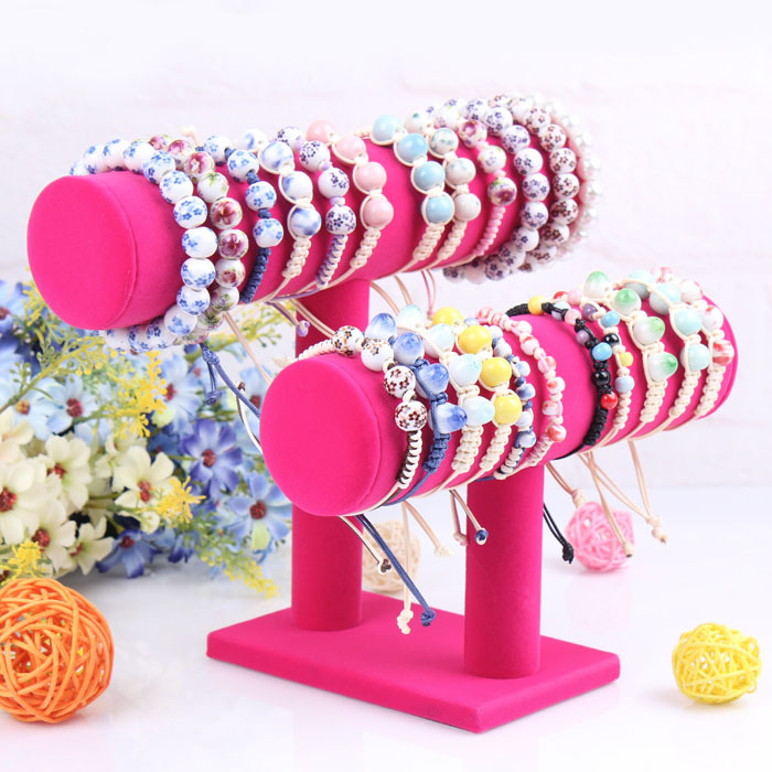 Rosered Fabric Bangle bracelet display rack made two rings jewelry rack Jewelry display hair tie accessory stand free shipping(China (Mainland))