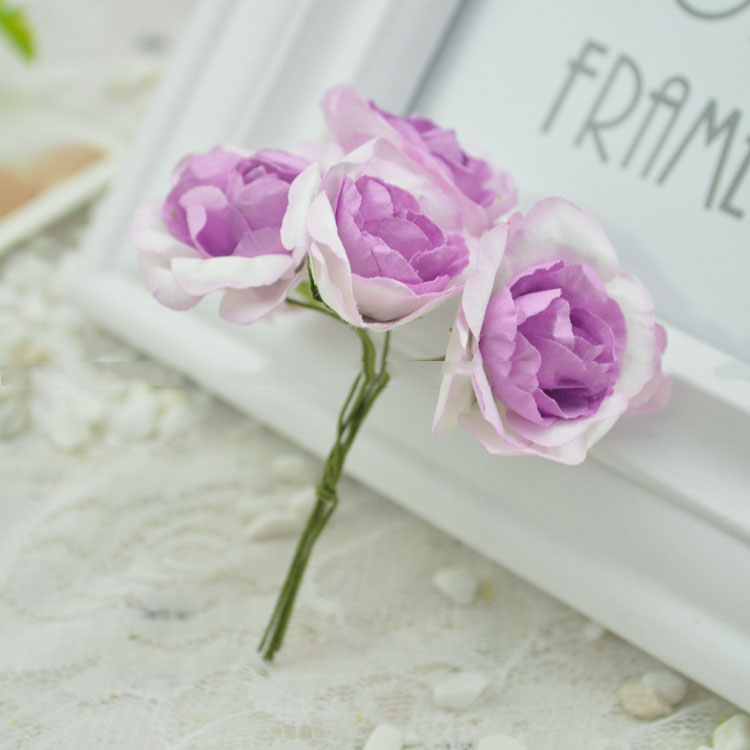 artificial flowers Dried silk flower paper flower material rose decoration(China (Mainland))