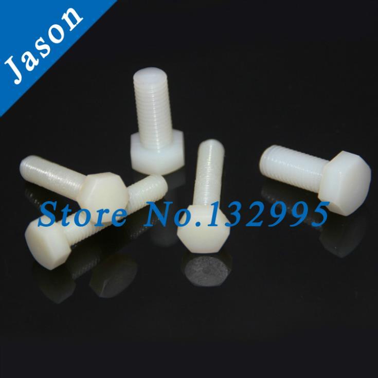 M6*25 Metric Thread *50pcs  Hexagon screw nylon hex bolt nylon plastic plastic screw  Metric Thread<br><br>Aliexpress