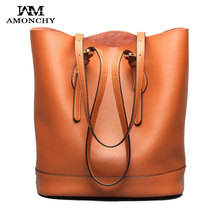 2016 Winter Women's Handbags Genuine Leather Women Shoulder Bags Luxury Imported Cow Leather Bucket Bag Skin Ladies Totes Sac 38(China (Mainland))