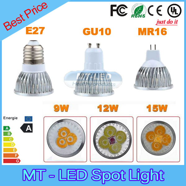 Retail lampada led 9W 12W 15W led lamp E27 GU10 MR16 E14 GU5.3 B22 dimmable led bulbs 85-265V MR16 12V led spot light(China (Mainland))