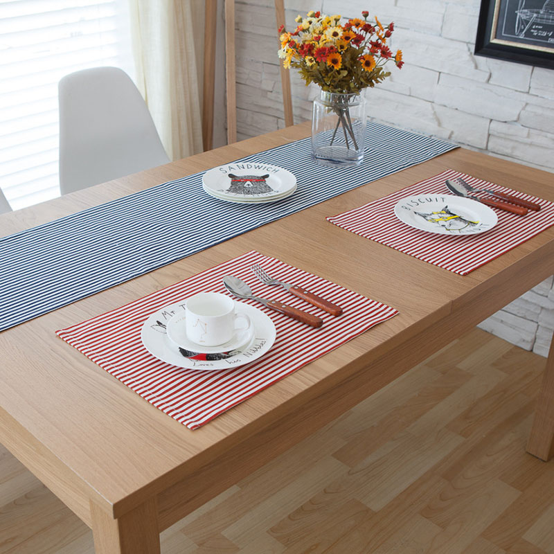 Linen Mat&Pads American Style 32x45cm Stripe Red Navy Napkins For The Table Western Placemat Coaster Posavasos Crochet Doilies(China (Mainland))