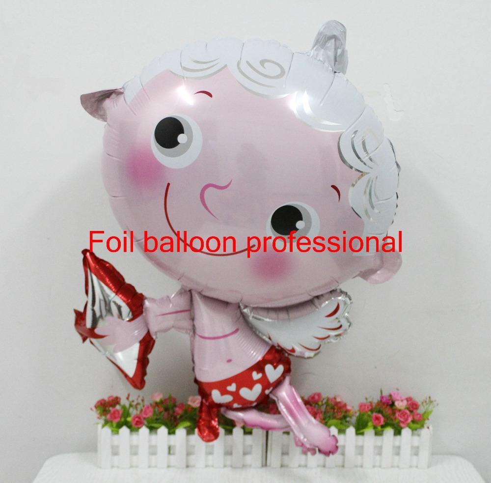 20pcs/lot 95*74cm wedding party decorations mylar balloon Cupid Angel shaped cute love helium balloons(China (Mainland))