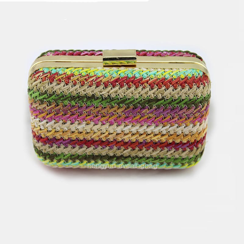 Summer Cool Round Packs clutches Straw handmade grass Handbag chains houlderbag girls evening bag :HY0133(China (Mainland))