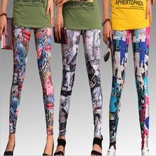 2016 spring new women's fashion casual Printed Floral elastic waist Leggings / Women milk silk stovepipe  pencil leggings(China (Mainland))