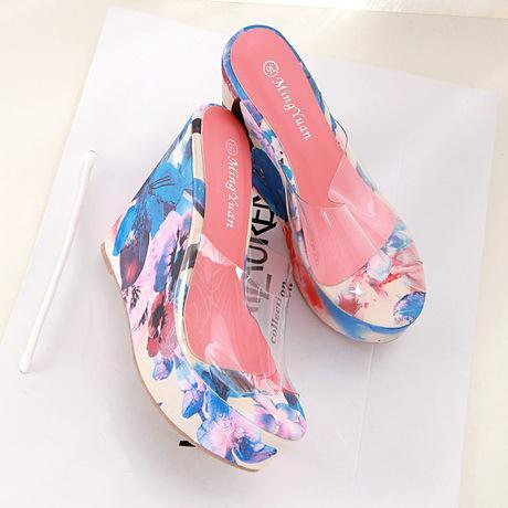 2015 aesthetic Korean version transparencies printed jelly sandals slippers platform wedges fish Sandals Women's shoes - sanpu ma's store