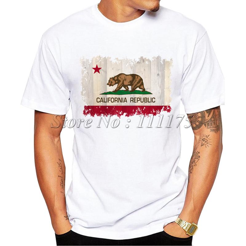 2016 Newest Men's The California Republic Printed T-Shirt Summer Cool Tops Fashion Tees(China (Mainland))