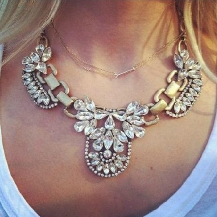 Fashion Crystal Collar Necklaces Personalized Vintage Retro Choker necklace Women XL-037 - crystal world ($5, store)