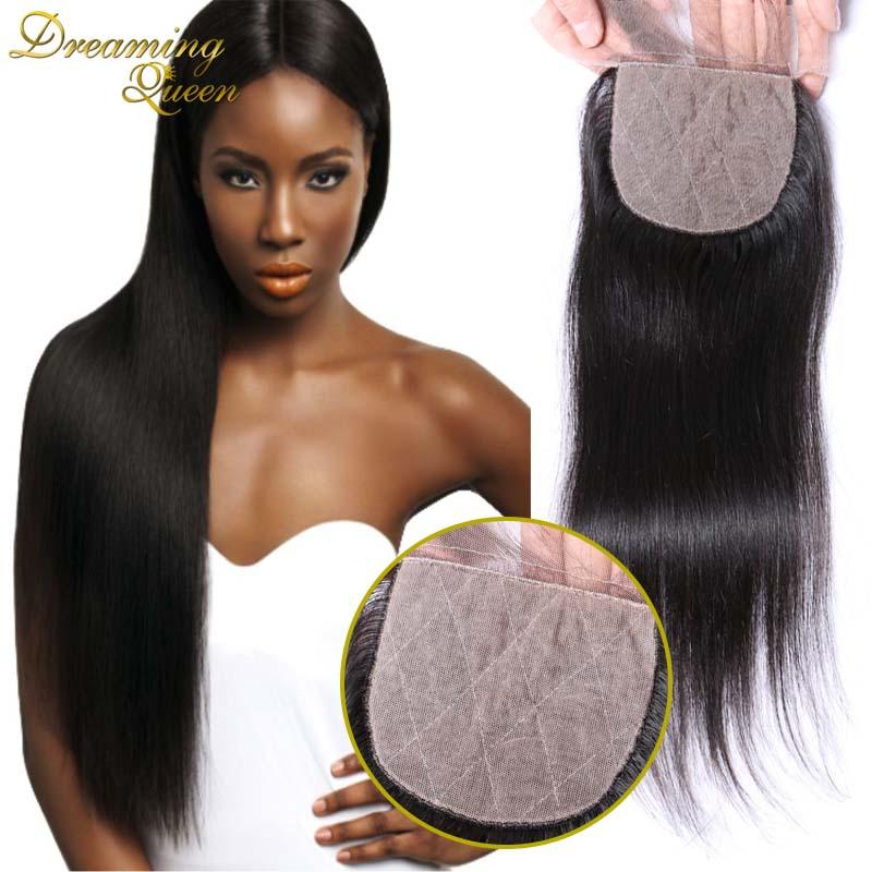 --DHL Free Shipping 7A Silk Base Closure Peruvian Hair 4X4 Straight  Hidden Knots Middle/Free/ 3 part Human Hair Silk Closure<br><br>Aliexpress