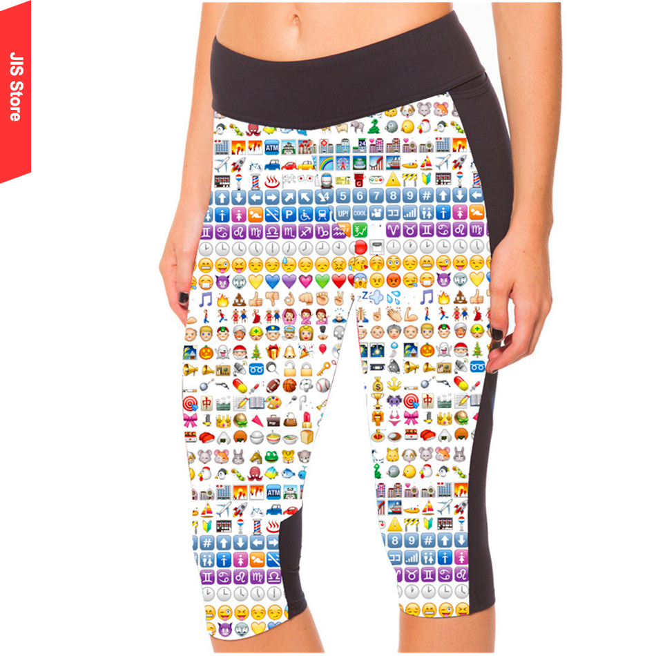 2016 Women Yoga Pants Sport Fitness Running Tights Quick Drying Compression Trousers Gym Slim Legging Emoji Print Yoga Leggings(Hong Kong)