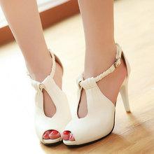 new classic women peep toe pump lady high-heeled sexy T-strap beige ladies wedding shoes