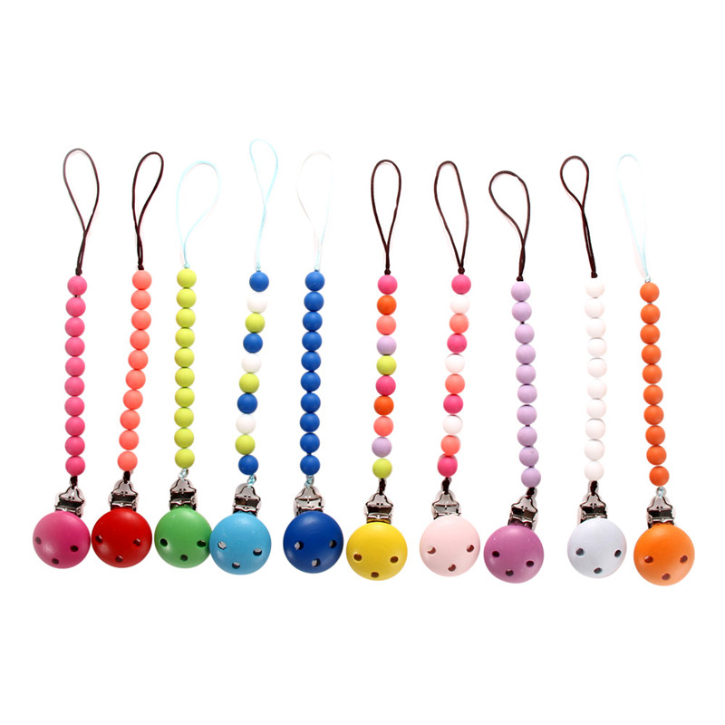 Promotional Toddler Baby Infant Soother Wood Pacifier Clips Holders Chain Leashes Cases(China (Mainland))