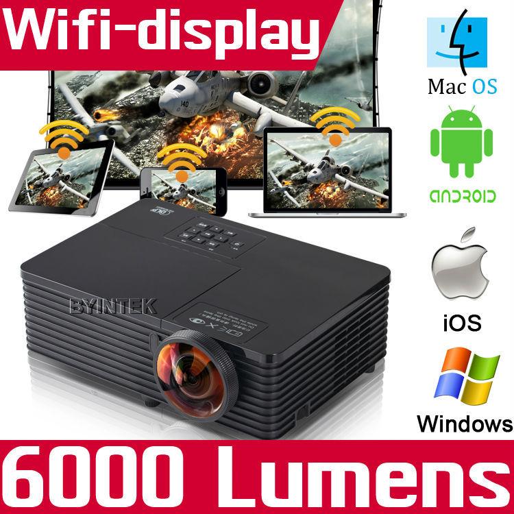 Проектор Wifi 6000ANSI USB HDMI DLP 1080p HD 3D projetor Proyector BYINTEK проектор 5500ansi dlp 3d hd hdmi 1080p