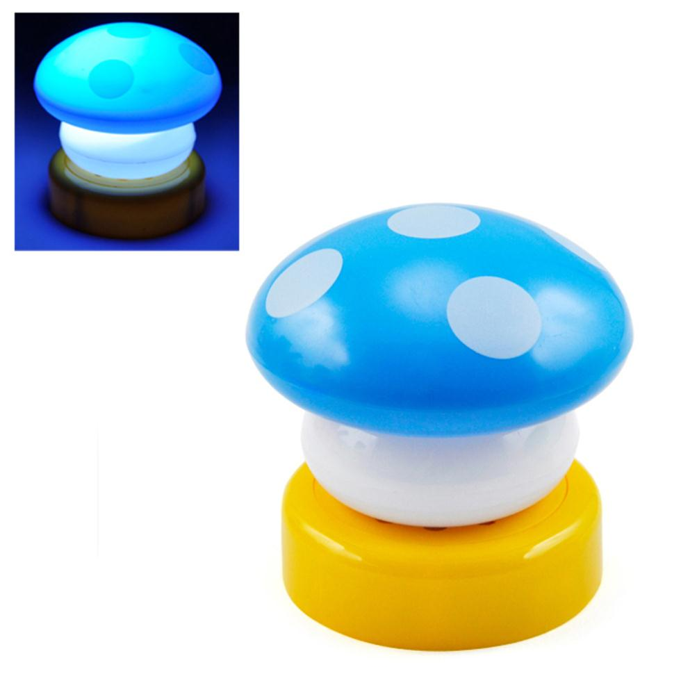 High Quality 2X Blue Mushroom Night Light LED Childrens Nursery Light Desk Lamp Bed Side Lamp Free Shipping(China (Mainland))