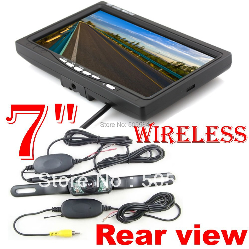 7 inch tft LCD Monitor Car Wireless Rearview Camera system with 2.4g transmitter+ receiver kit for Reverse backup parking assist(China (Mainland))