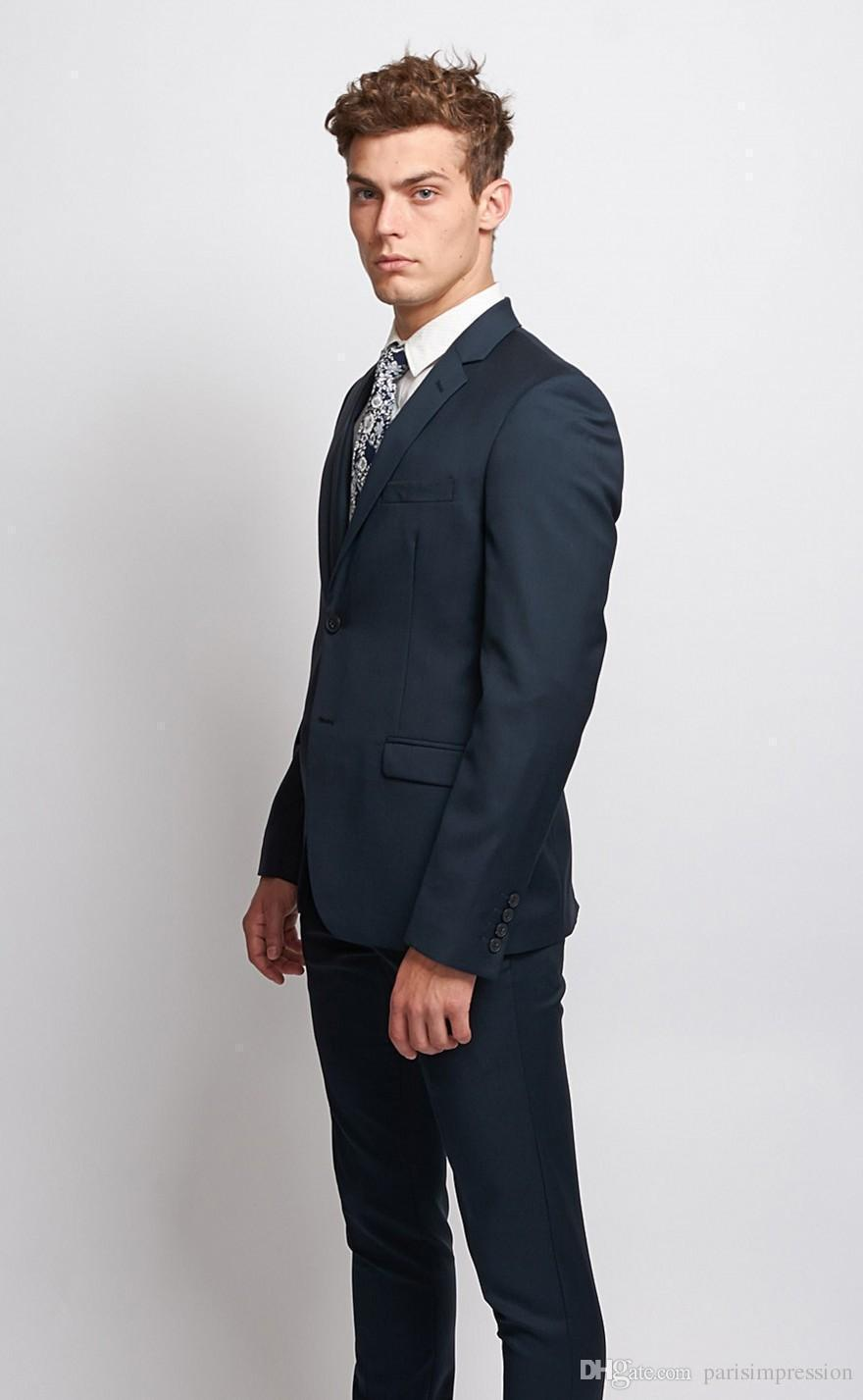 New Arrival Formal Navy Blue Wedding Suits For Men Notched Lapel Men Tuxedos Two Buttons Men ...