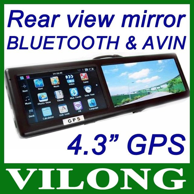 New 2014 4.3 Inch Bluetooth Rearview Mirror with Built-in GPS with AV IN 4GB FM