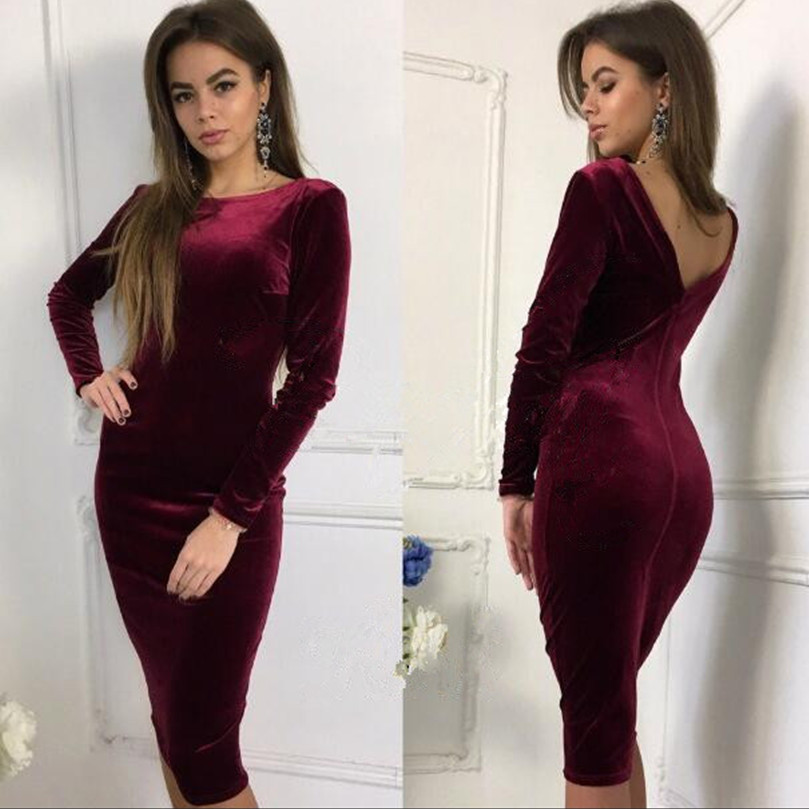 Sexy Backless Silk Suede Sleeve Slim Package Hip Dress Party Sexy Fashion Autumn Strap Evening Mid Velvet Dress(China (Mainland))
