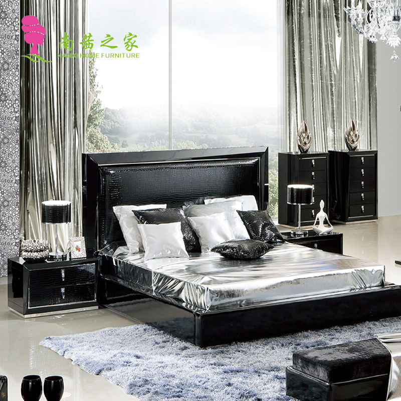 modern bedroom furniture set black color bed with nightstand dressing table and bed end chair wardrobe(China (Mainland))