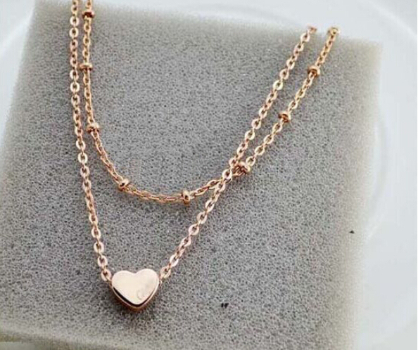 Charming Anklet with Heart Pendant and Two Chains