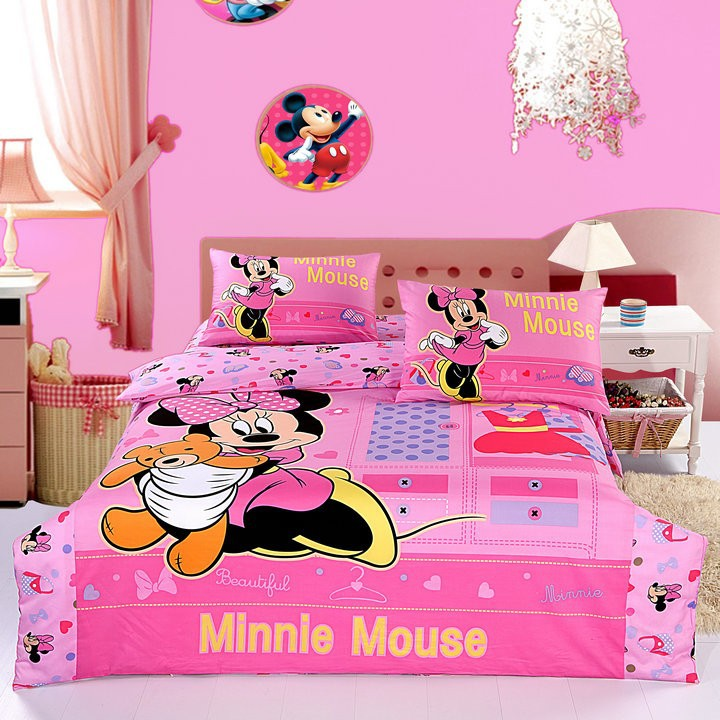 Minnie mouse bedding sets/bedclothes/Home textile/comforter set/bedspread/100% cotton duvet cover/queen bed cover/bedroom sets(China (Mainland))