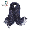 2017 Fashion Men Scarf Plaid Stripe Pattern Soft Cotton Fabric with Tassels Spring Winter Warm Scarf