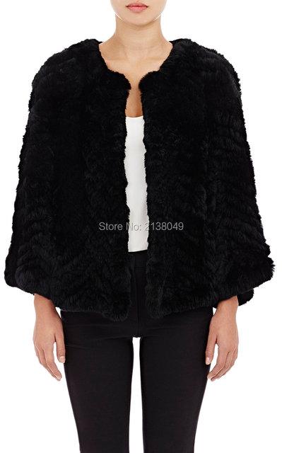 FC00803 Стандарт Моды Тонкий Мех Женщин реального кролика трикотажные пальто