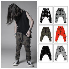 2015 nuovi capretti di modo harem pants, 100% cotone e di alta qualità, nununu croce stampato stelle harem pantaloni per i bambini, kid  (China (Mainland))