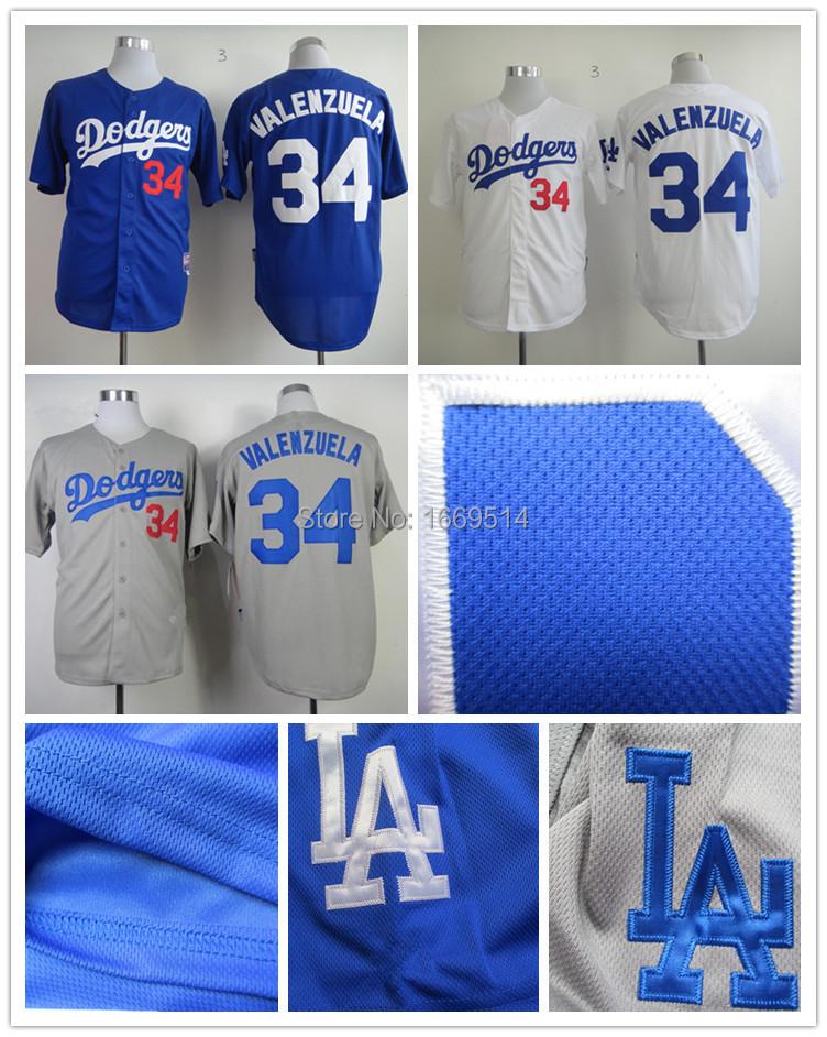 New Fashion Los Angeles Dodgers 34 Fernando Valenzuela Gray Men's Cool Base Baseball Jersey/Shirts,Best Choice For Fans SR1009(China (Mainland))