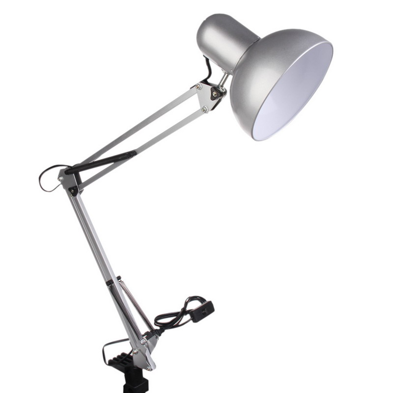 Swing Arm Drafting Light Desk Adjustable Height Light Home Office Eye Protection Table Lamp Silver Free Shipping(China (Mainland))