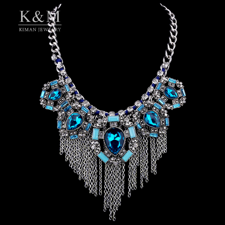 New Fashion Design Jewelry Tassel Choker Necklace Women Retro Heart Crystal Statement Necklaces & Pendants 3 Colors NK-01435(China (Mainland))