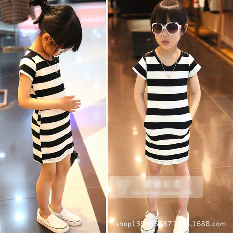 free shipping summer cotton O-neck short-sleeve of the black and white striped A-line dress 2-6 T children S dresses girl dress(China (Mainland))