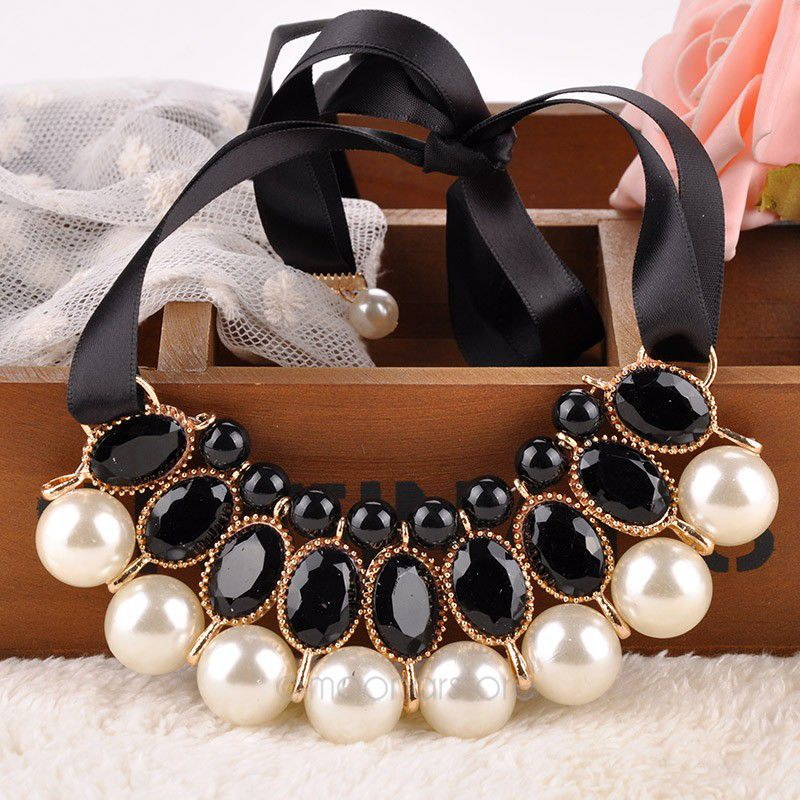 Simulated pearl necklace Vintage Choker Collar Ribbon Bead Rhinestone Pendants Chain Statement Necklaces For Women Jewelry Gifts(China (Mainland))