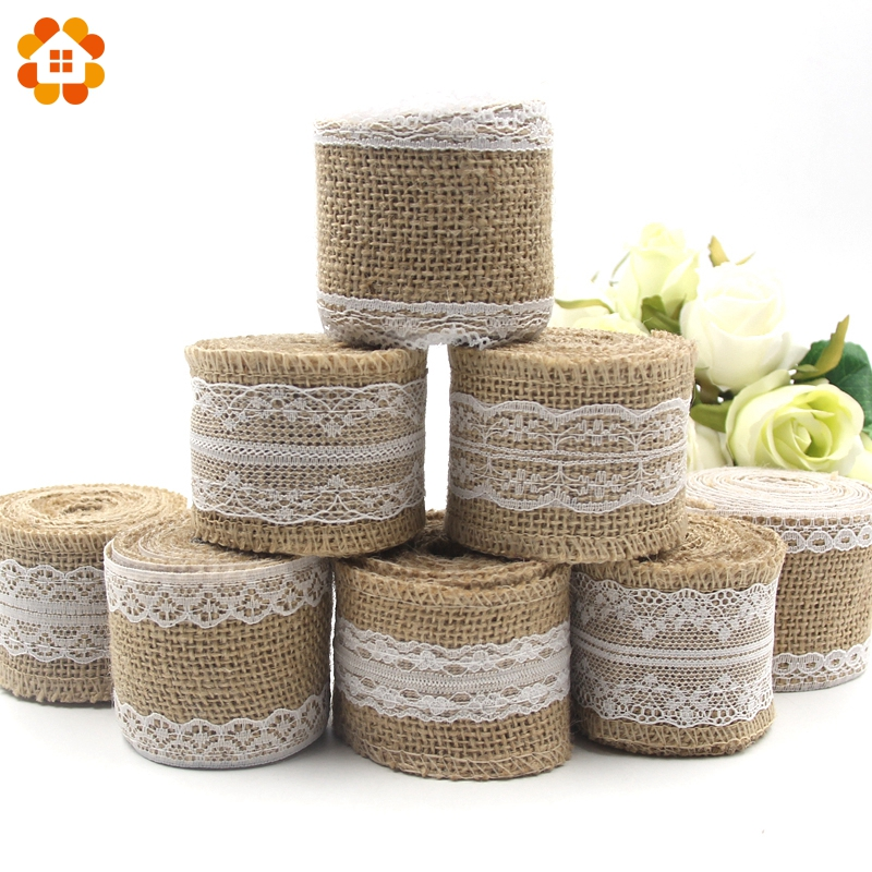 2M/Roll 5CM DIY Ornament Burlap Jute Burlap Rolls Hessian Ribbon Lace Rustic Vintage Wedding Party Decoration Supplies