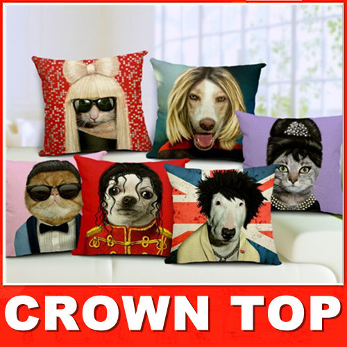 European and American star creative cartoon cats and dogs cotton pillow pillow nap pillowHome car decorative cushion(China (Mainland))