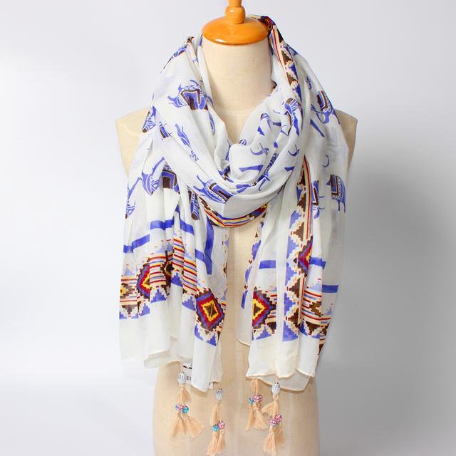 2016 новое поступление зима мода женщин марка дизайн богемия национальный ветер слон кисти подвеска длинный шарф большой размер шали