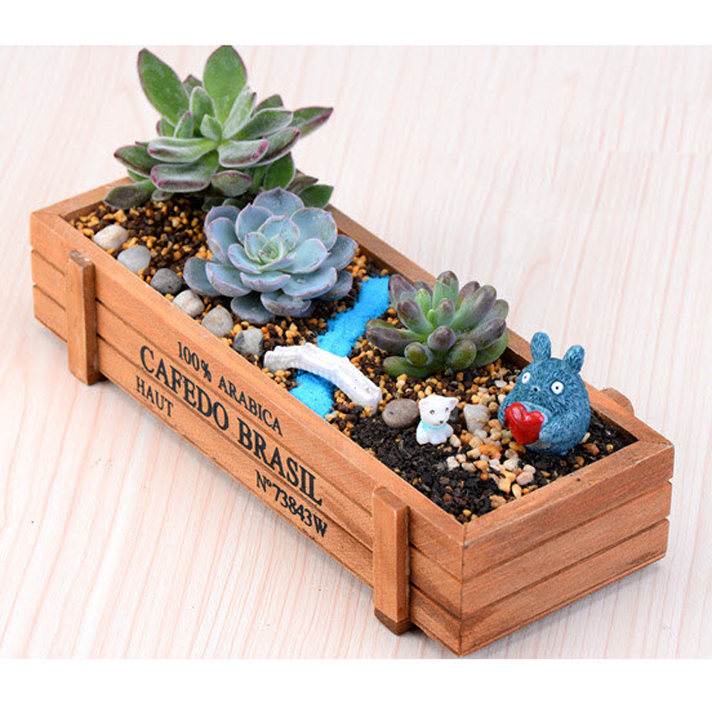 New Hot Sale Natural Rectangle Wooden Succulent Plant Flower Bed Pot Box Garden Planter Free Shipping(China (Mainland))