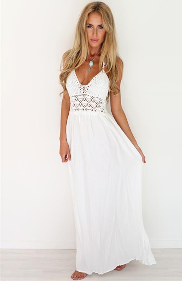 Robe de plage longue blanc