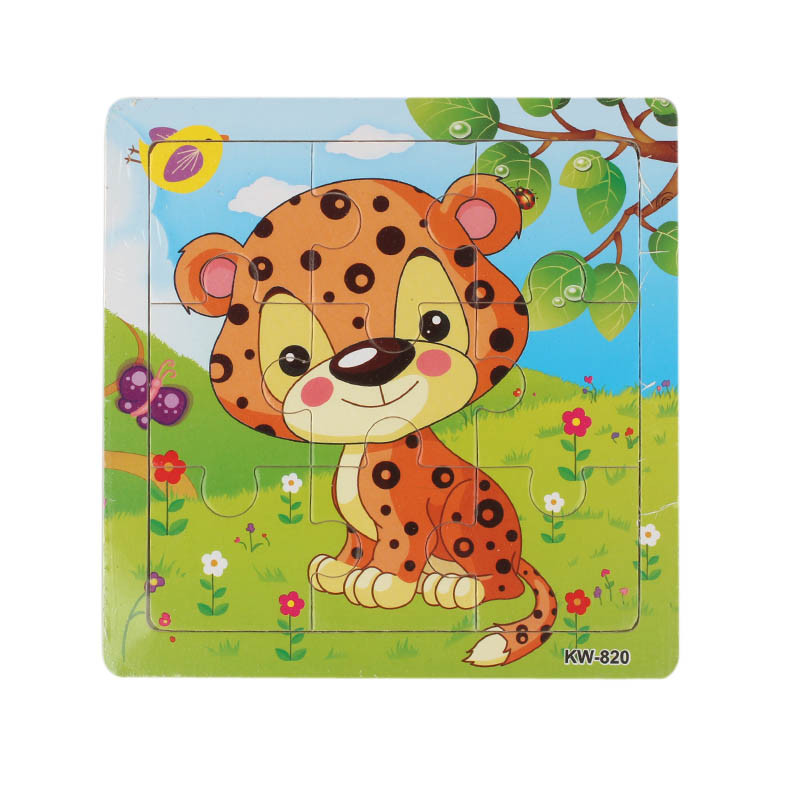 Niosung 2016 New Wooden Leopard Jigsaw Toys For Kids Education And Learning Puzzles Toys for baby kids 1-3 years old
