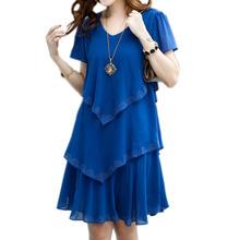 Vestido De Festa Summer Dress Women Blue Party Dresses 2016 Plus Size 5XL Women Clothing Vestidos Robe Femme Sexy Dress Chiffon(China (Mainland))