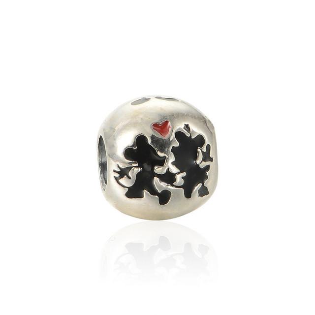 Симпатичные эмаль мышь бусины стерлингового серебра 925 пробы украшения бусины Fit пандора неповторимое очарование браслеты DIY ювелирных украшений 2015 рас-нея