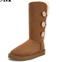 3.28 Precio de Venta de Alta calidad 2016 botón de invierno de gamuza de cuero genuino de alta botas largas de las mujeres snowboots botas zapatos de la nieve(China (Mainland))