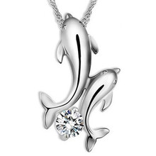 Buy Women Double Dolphin Crystal Rhinestone Pendant Necklace Silver Plated Chain Clavicle Choker Necklace Neck Jewelry for $1.31 in AliExpress store