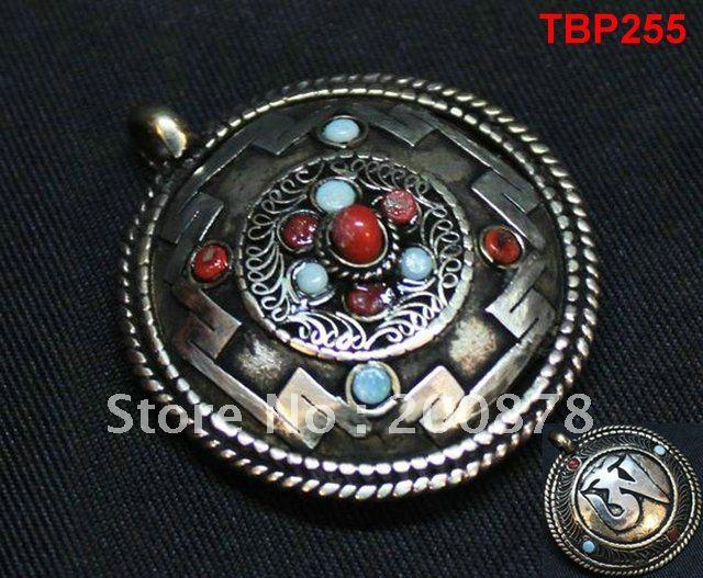 Tibet JewelryTBP255 Tibetan holly city Mandala amulet pendant,40mm,double sides vintage pendants,Tibet Shamballa jewelry(China (Mainland))