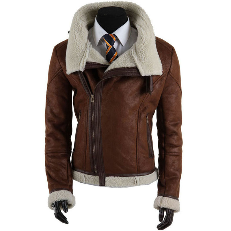New 2015 High Quality Mens Faux Fur Coats Motorcycle Leather Jacket Men Slim Fit Cheap Leather Jackets Jaqueta Couro Black/Brown(China (Mainland))
