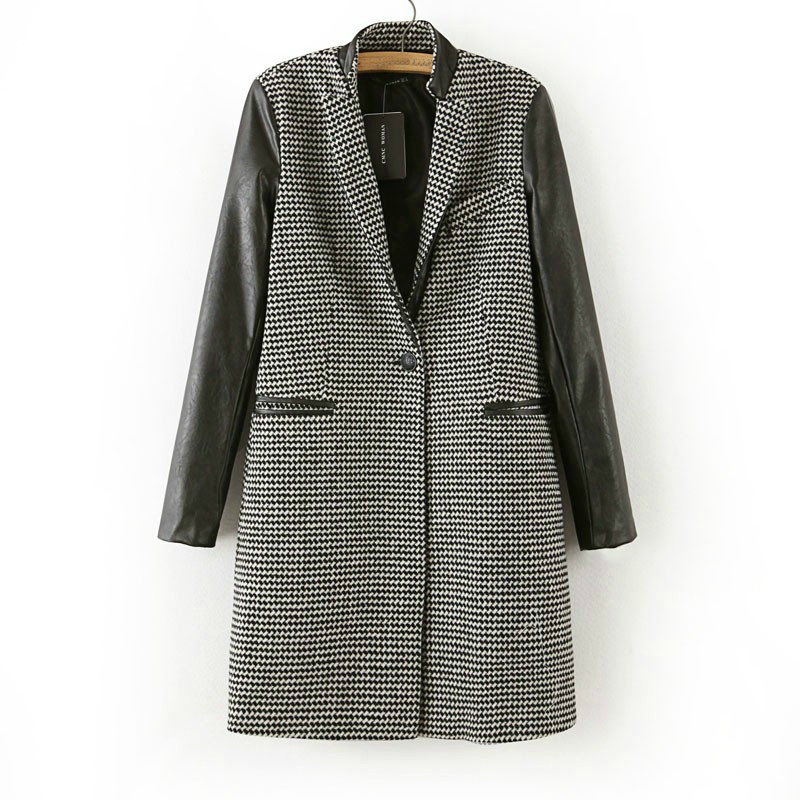 Wool & Blends Outerwear Coat 2015 Autumn Winter Houndstooth Leather Sleeve Coat Women's Grey Wool Coat Jacket (China (Mainland))