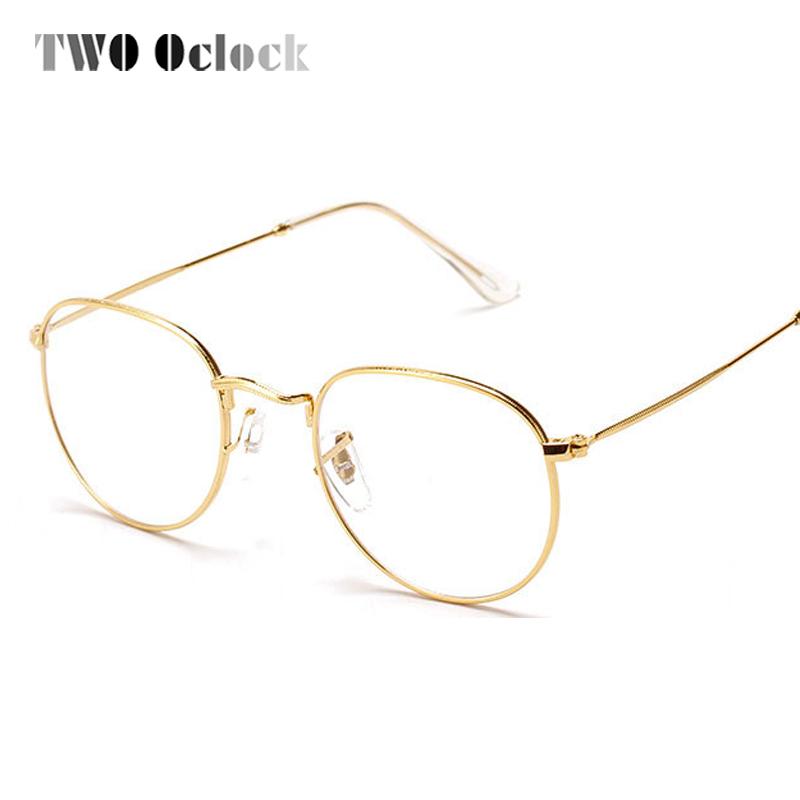 two oclock fashion gold metal frame eyeglasses for women female vintage glasses clear lens optical frames