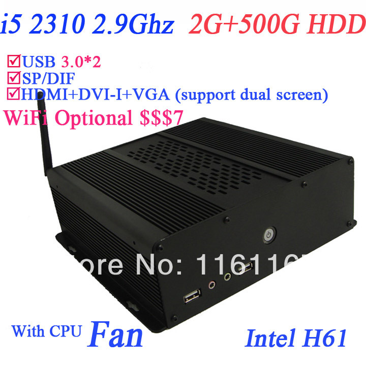 2014I5 mini server with 500G HDD 2G RAM intel core i5 2310 2.9Ghz include windows or LInux installed for optional black allumium(China (Mainland))