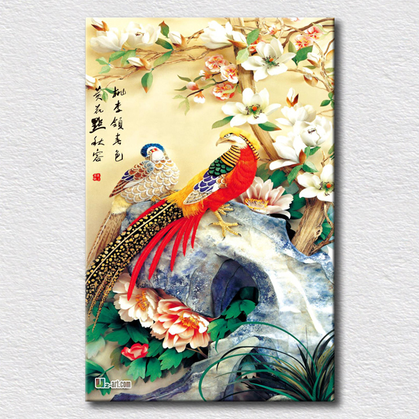 Office room decoration Chinese wall art elegant paint rich colors birds lightning the house canvas pictures(China (Mainland))