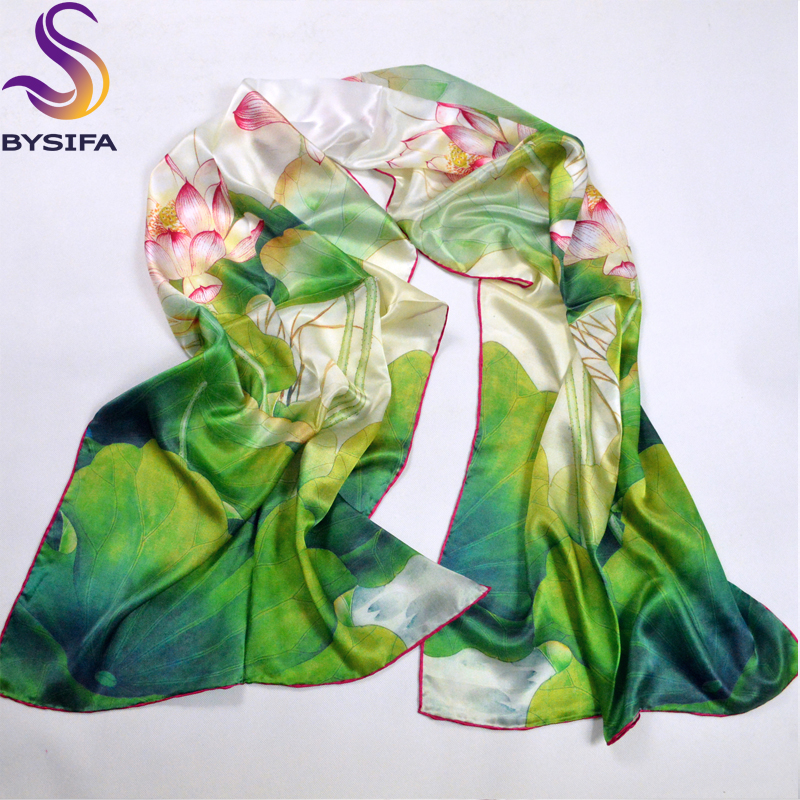 Green Lotus Scarves Shawl 100% Pure Silk Fashion Female Long Scarf Wraps Hot Sale Silk Scarf Printed For Winter Autumn 178*52cm(China (Mainland))